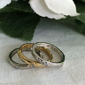 3 Stacking Rings (Sz 9.5) with crystals (NWOT)